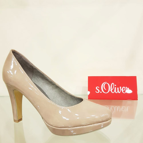 on sale 706c5 2b6d4 s.Oliver 5-22400-29 252 Nude Patent High Heel Shoe