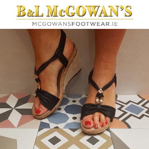 734663ef Heavenly Feet Eleanor Ladies Sandal - Black | McGowans Footwear