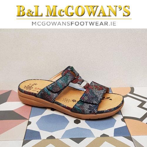 6287fc13 Heavenly Feet Megan Ladies Sandal - Navy Floral | McGowans Footwear